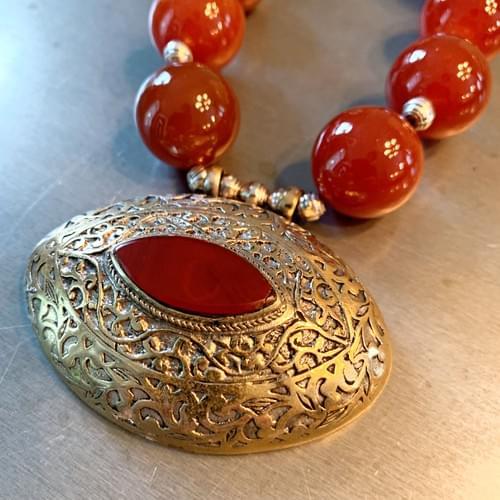 Vintage Uzbek Pendant with Carnelian