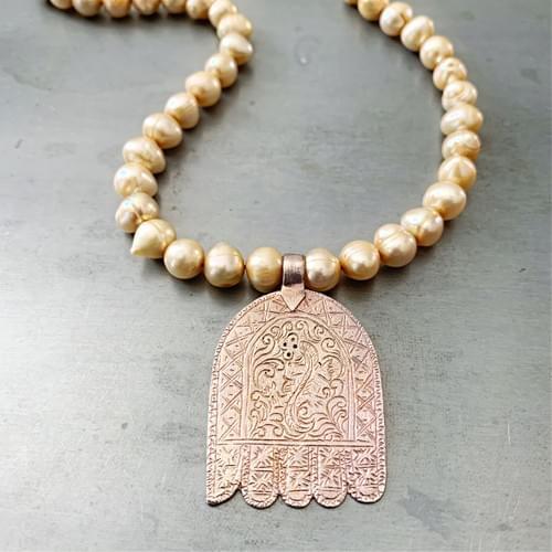 Hamsa on Creamy Freshwater Pearls Necklace