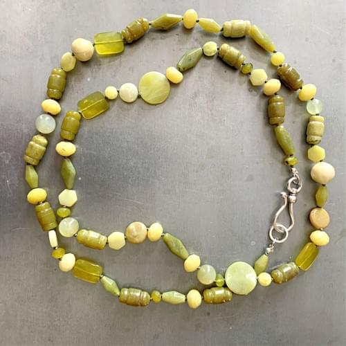 Olive Green Jade and Jasper Strand Necklace