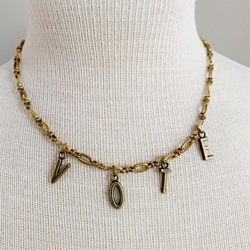 Brass Twisted Bar and Link VOTE Necklace