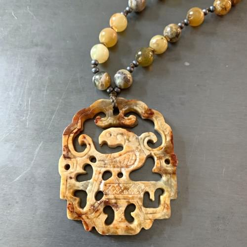 Yellow-Brown Jade with Carved Phoenix Pendant Necklace