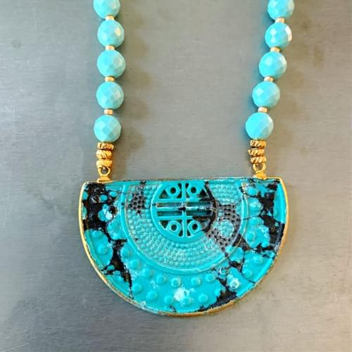 Carved Turquoise Demi-Lune Pendant on Faceted Turquoise Beads