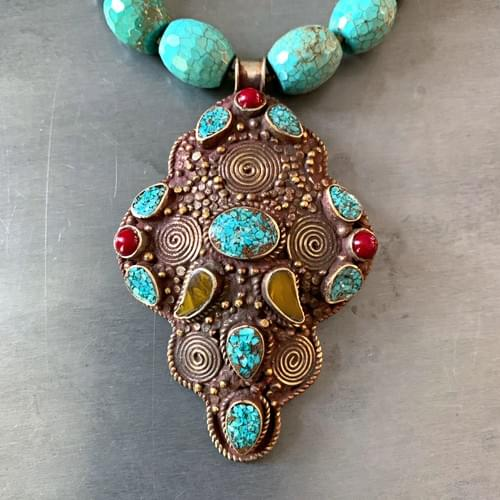 Vintage Turquoise, Amber and Coral Nepali Pendant