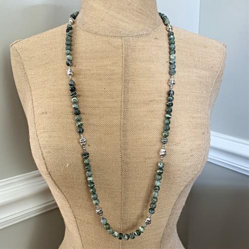 Silverleaf Jasper and Happy Buddha Strand Necklace