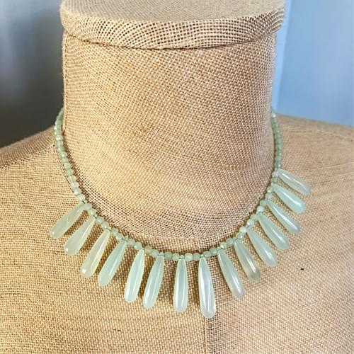 Green Chalcedony Drops Necklace