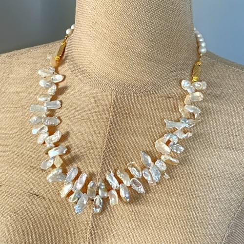 Single Strand Keshi Pearls and Gold Vermeil
