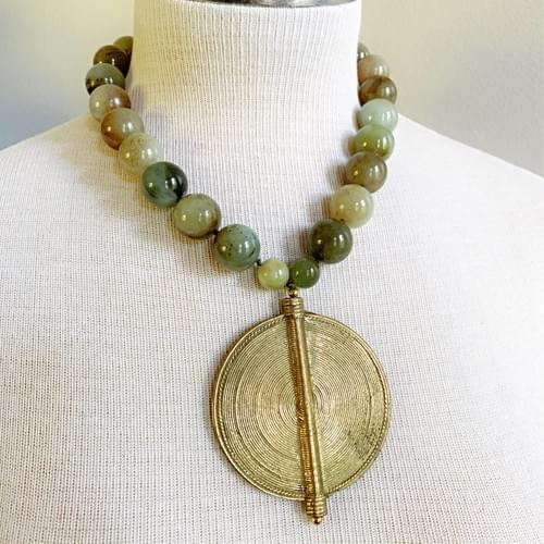 Baule Bronze Shield Pendant on Jade Rounds