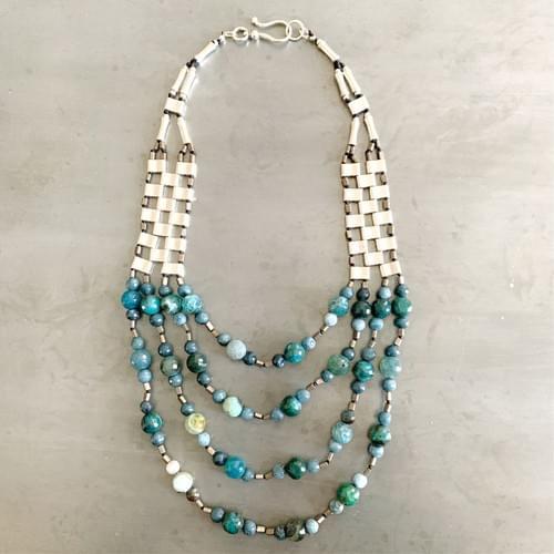 Teal Quartz Four Strand Bib Necklace
