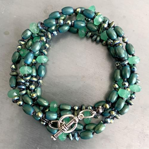 Dark Green Hematite and Jade Strand Necklace and Wrap-Strand Bracelet