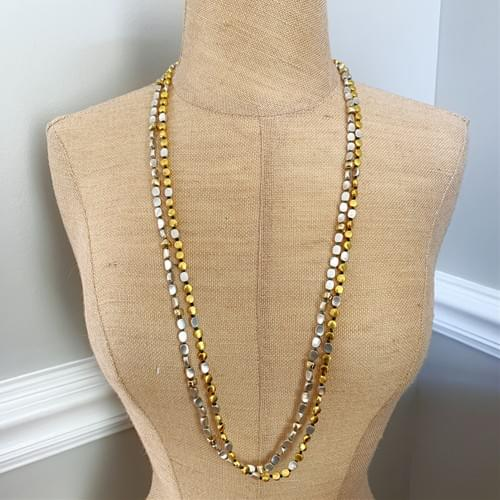 Gold and Silver Tab Strand Necklace and Wrap-Strand Bracelet