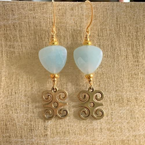 Blue Chalcedony and Bronze Adinkra Charms