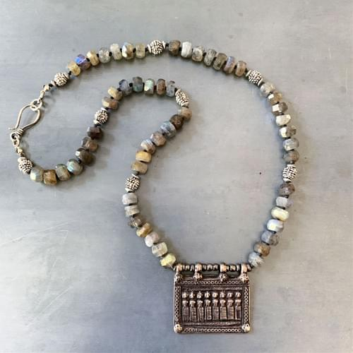 Rajasthani Seven Mothers Pendant with Labradorite Necklace