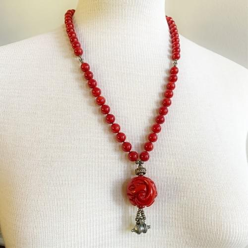 Carved Red Coral with Silver Accents