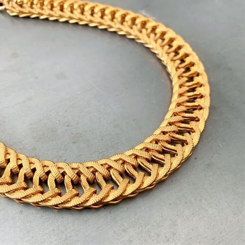 Vintage Fancy Textured Flat Link Necklace