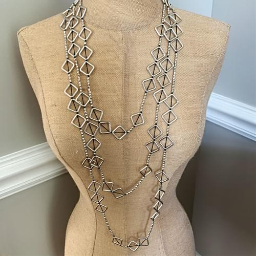 Silver Squares Strand Necklace