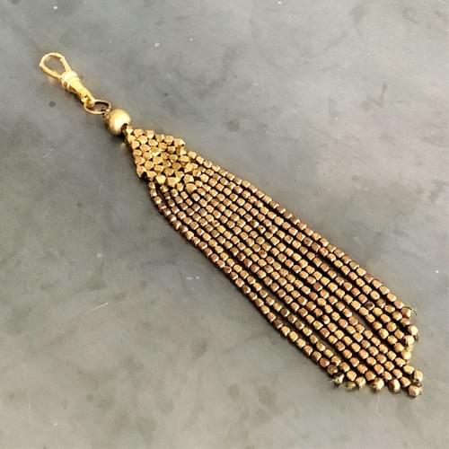 Brass Beaded Tassel Charm Pendant