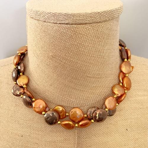Copper Coin Pearls with Shibuichi and Brass Strand