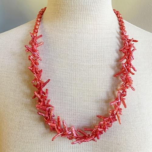 Hot Peachy Pink Cross Pearl Necklace