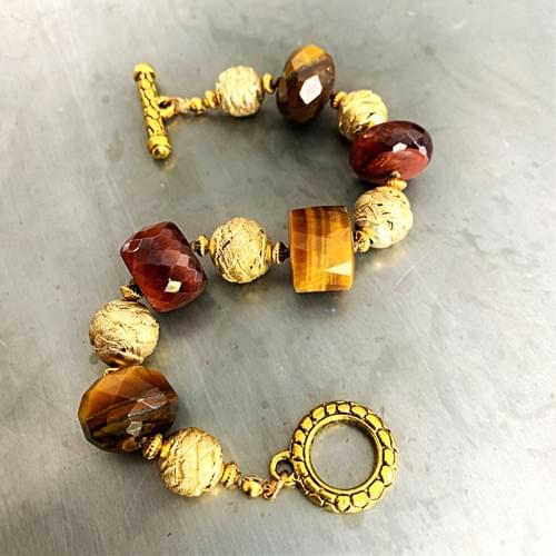 Multi-colored Tigers Eye and Gold Vermeil Bracelet