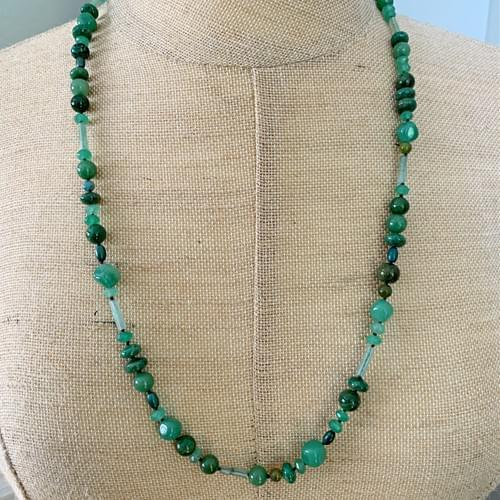 Multi-Green Jade Strand Necklace and Wrap-Strand Bracelet