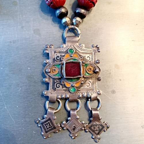 Antique Moroccan Pendant on Carved Cinnabar and Old Silver Beads
