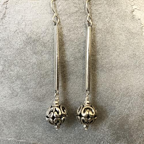 Openwork Silver Ball Drops