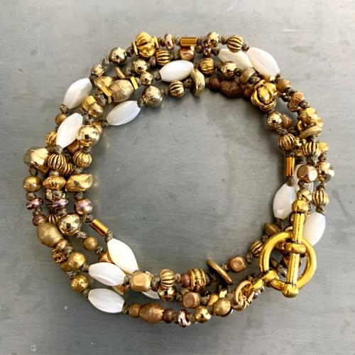 Mother of Pearl and Antique Gold Accents Strand Necklaces and Wrap Bracelets