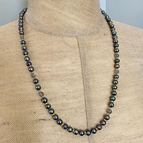 Peacock Pearls and Labradorite with Gold Accents Strand Necklace