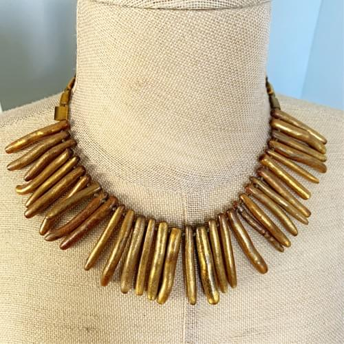 Gold Coral Fringe Necklace