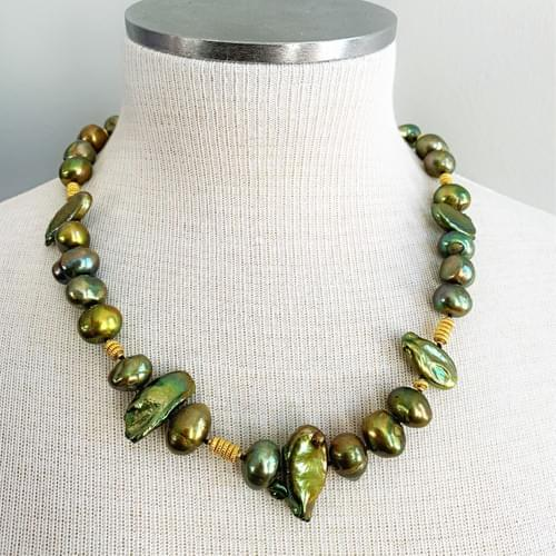 Green Freshwater Pearls and Gold Vermeil Necklace