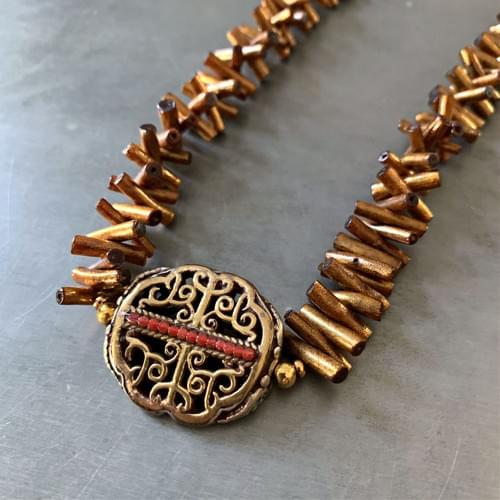 Nepalese Bronze and Silver Pendant on Golden Coral Sticks Necklace
