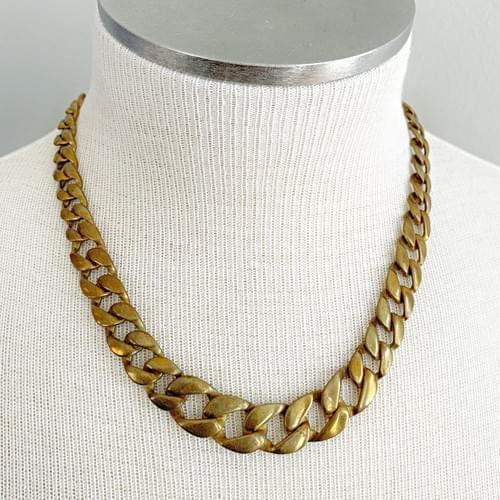 Vintage Graduated Square Curb Chain Necklace