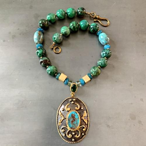 Turkish Turquoise Pendant with Oxidized Silver and Gold Vermeil