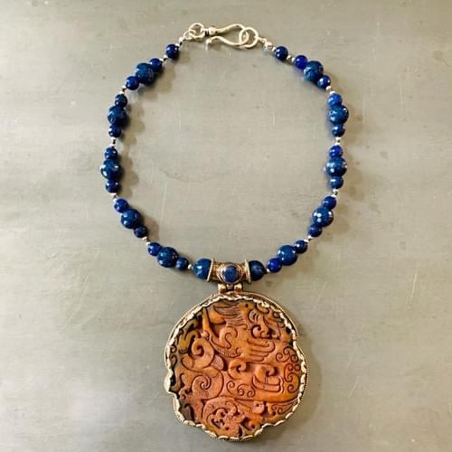 Tibetan Carved Jade Pendant and Lapis Necklace