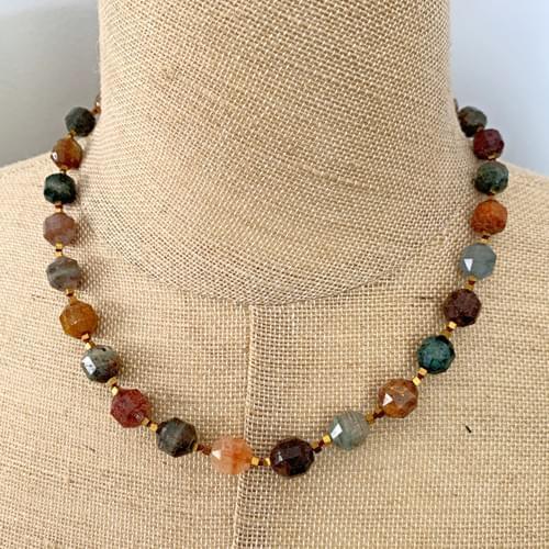 Lantern-cut Multi-Colored Agate Strand Necklace