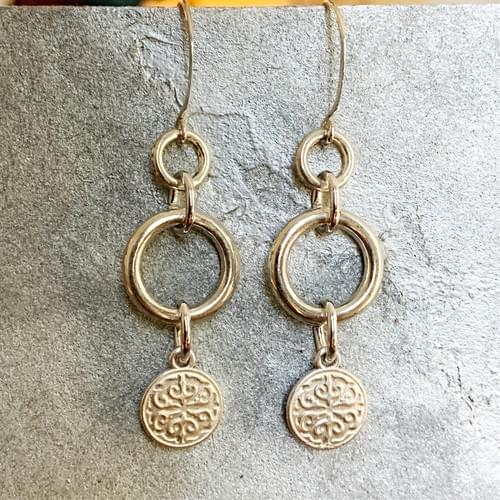 Silver Ring and Floral Dangle Earrings
