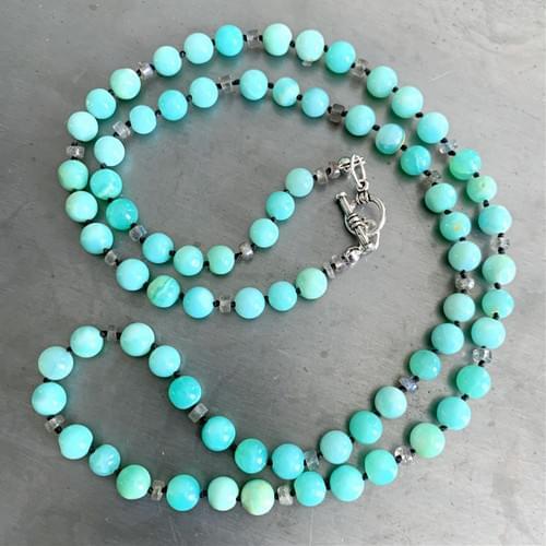 Opal and Labradorite Strand Necklace and Wrap-Strand Bracelet