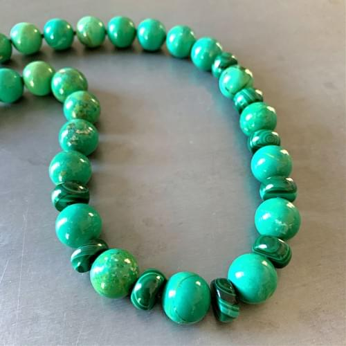 Green Turquoise and Malachite Strand Necklace