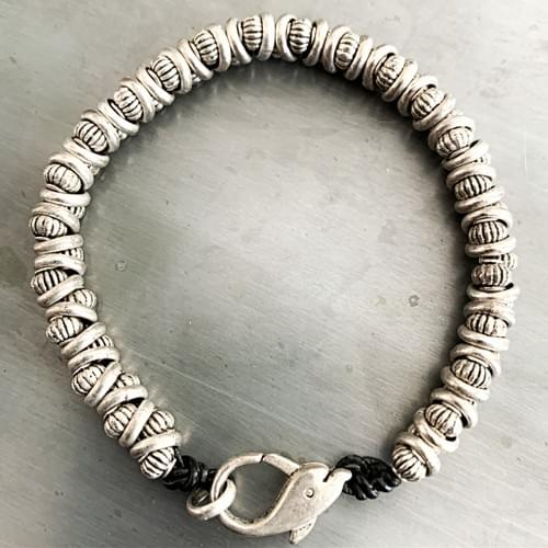 Silver Woven Bracelet with Lobster Closure