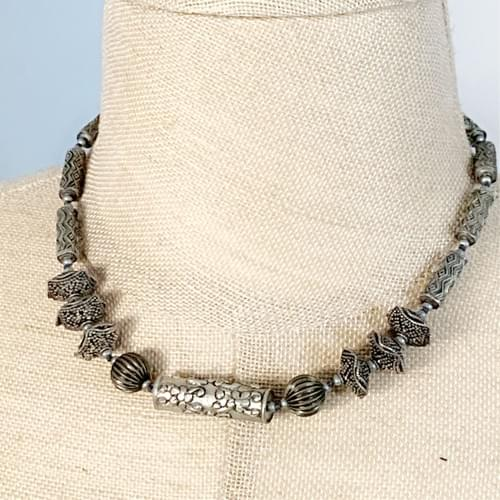 Silver Ching Dynasty Beads Necklace