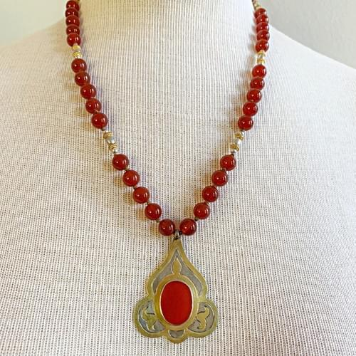 Silver and Gold Turkmen Pendant with Carnelian and Gold Accents
