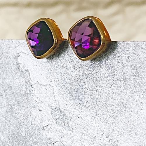 Cushion Cut Amethyst and Gold Vermeil Post Earrings