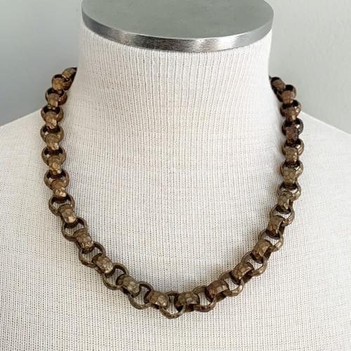 Gingerbread Vintage Hammered Link Necklace