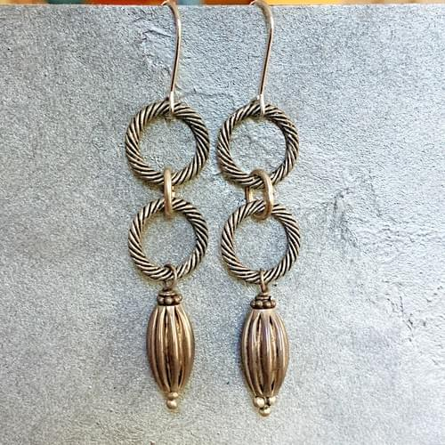 Antique Silver Rings and Drop Earrings