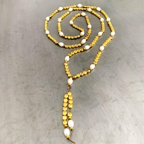 Brass and Freshwater Pearl Mala-style Strand