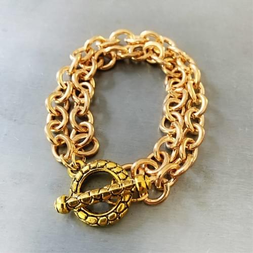 Double Gold-Plated Cable Chain Bracelet