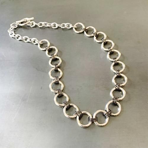 Silver and Gunmetal Link Necklace