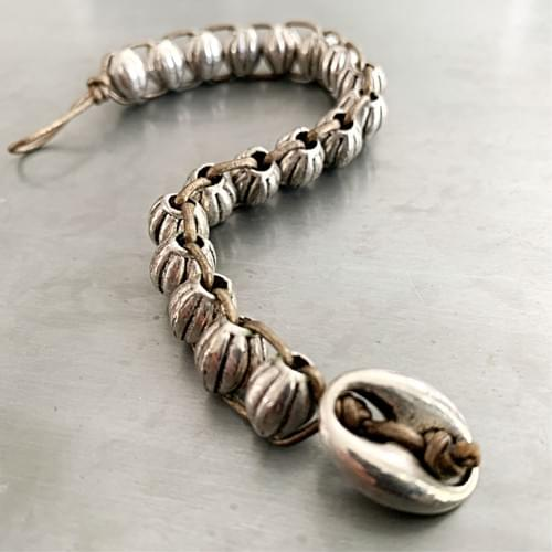 Silver Melons Woven Bracelet on Leather