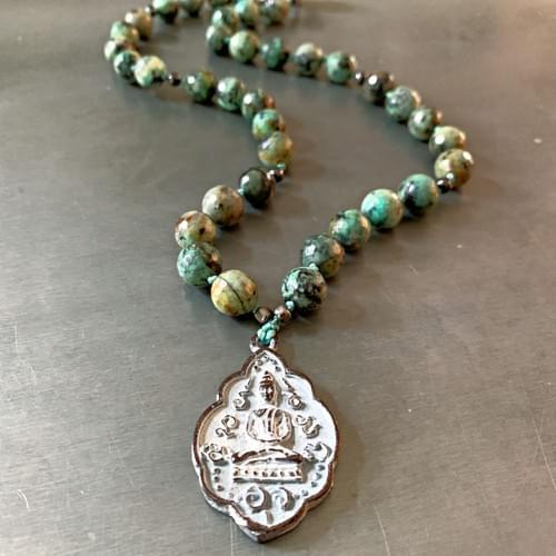 Bronze Thai Buddha Amulet Necklace