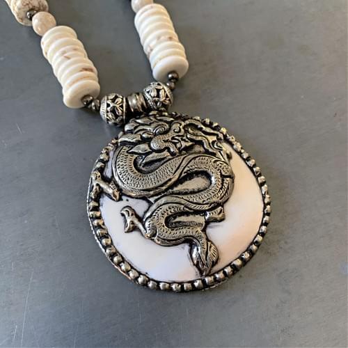 Tibetan Dragon Conch Shell Pendant with White Magnesite